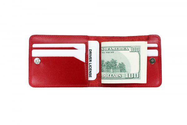 Кошелек кожаный красный «валюты»