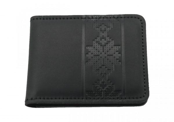 Кошелек кожаный черный «Орнамент мал»