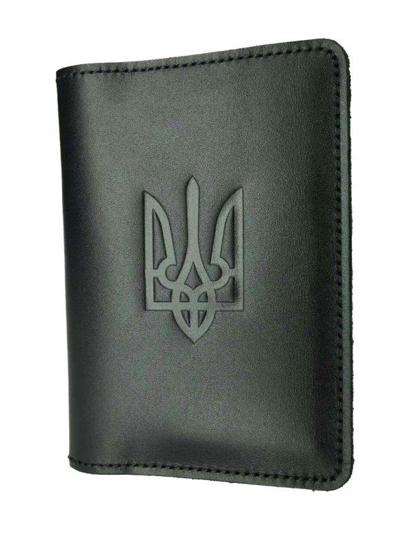 Обложка для паспорта черная с Гербом Украины